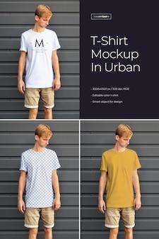 Mockups t-shirt design auf einem jungen mann. urbaner stil