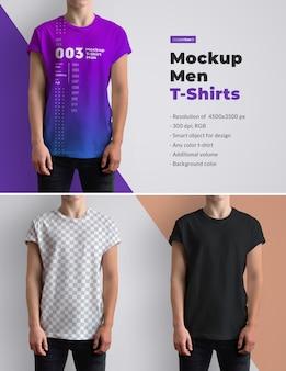 Mockups t-shirts auf den herren. das design ist einfach beim anpassen des bilddesigns und der t-shirt-farbe