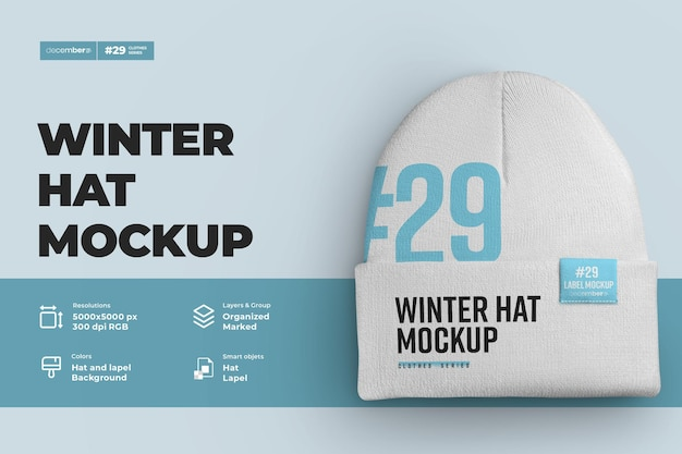 Mockups winter hat beanie mit großem revers. design ist einfach in der anpassung von bildern design mütze (hut, revers, etikett), farbe aller elemente mütze, heidekraut textur