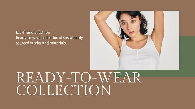 Mode-blog-banner-vorlage psd für die ready-to-wear-kollektion