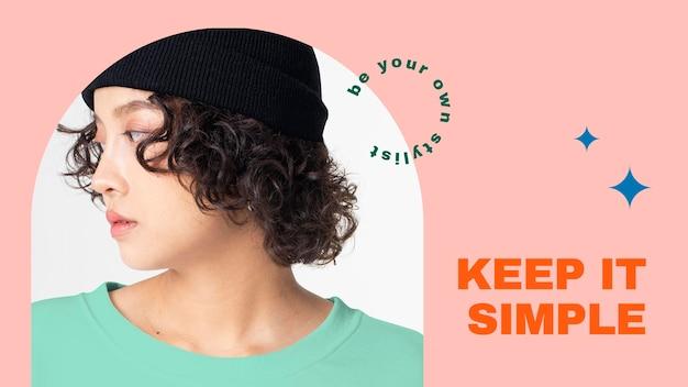 Mode-blog-banner-vorlage psd für frauen-outfits-kollektion