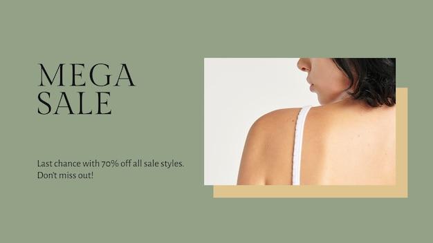 Mode-blog-banner-vorlage psd für mega-verkauf