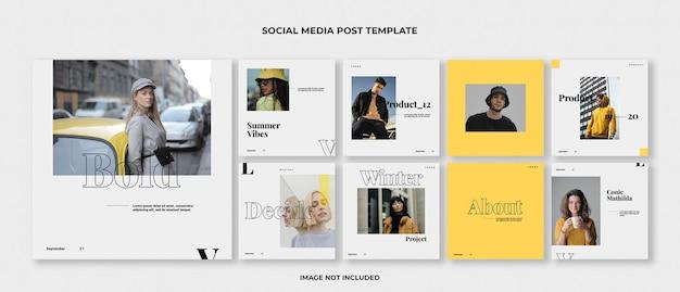 Mode instagram post template set