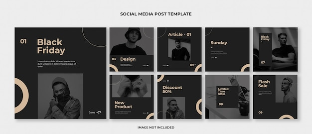 Mode instagram post template set