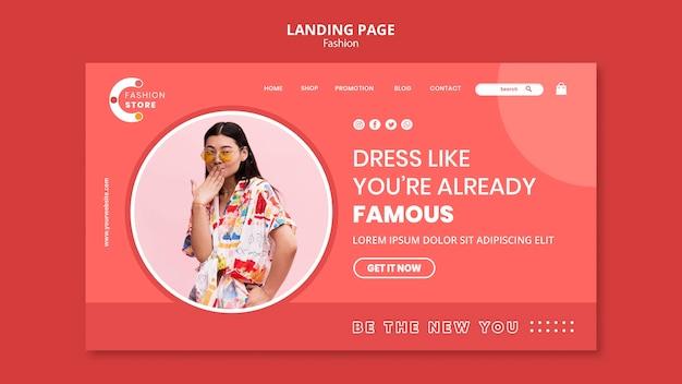 Mode-landingpage mit frauenfoto