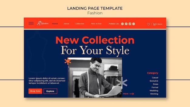 Mode-landingpage-vorlage mit foto