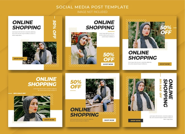 Mode online-shopping instagram post bundle vorlage