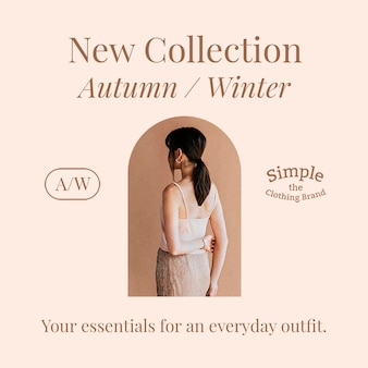 Mode-social-media-verkauf-psd-vorlage mit neuer herbst-/winterkollektion