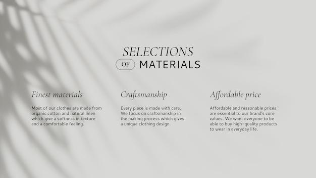 Mode-social-media-vorlage psd-auswahl von material mit blattschatten