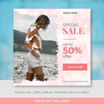 Mode-verkaufs-quadrat-fahnen-schablonen-design für instagram-beitrag