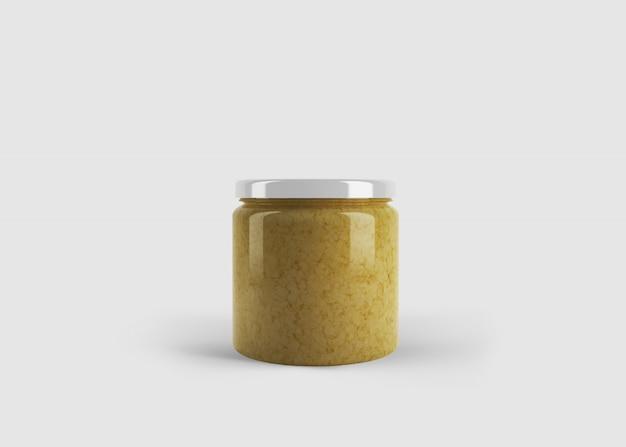 Modell aus gelber marmelade oder sauce oder senfglas mit individuellem formetikett in einer sauberen studioszene