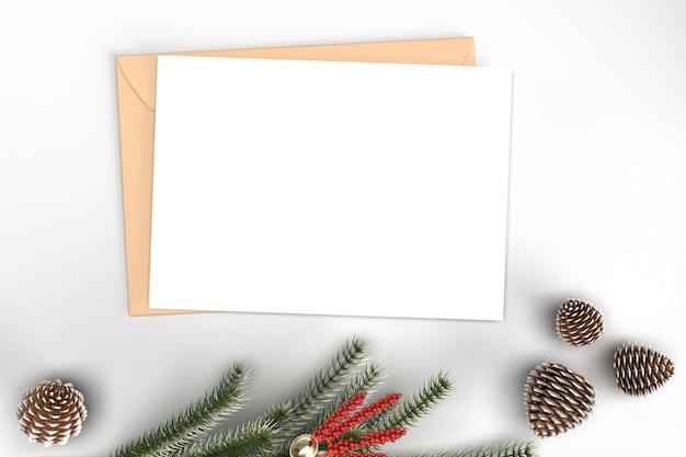 Modell der karte weihnachten mit dekorationen und tannenzweigen