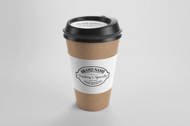 Modell der öko-kaffeetasse aus braunem papier mit aufkleber und kappe