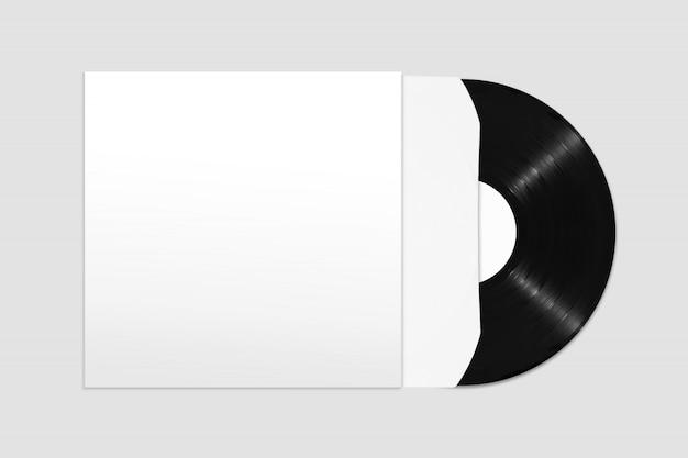 Modell der unbelegten vinylaufzeichnung der draufsicht mit abdeckung und hülse