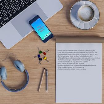 Modell des arbeitsbereichs auf tabelle mit notizbuch