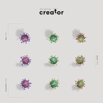 Modell des erstellers der szene mit viralen bakterien