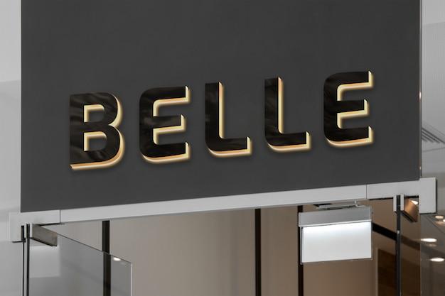 Modell des exklusiven eleganten schwarzen neonlogoschildes 3d mit hintergrundbeleuchtung auf dunklem shopschaufenster oder -eingang
