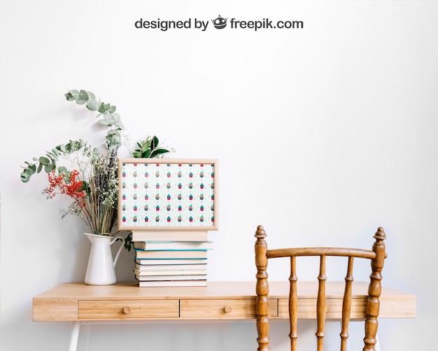 Modell des rahmens auf dekorativem tisch