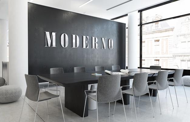 Modell des silber 3d büro-logos im eleganten geschäftsinnenarbeitsbereich