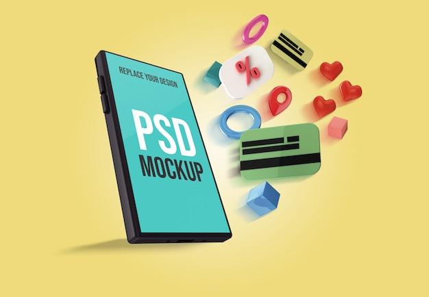 Modell des smartphones zum online-shopping