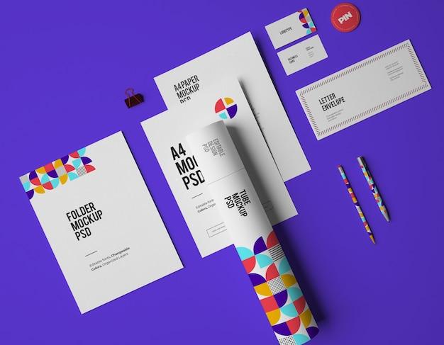 Modell des stationären branding-designs eines unternehmens mit veränderbaren farben
