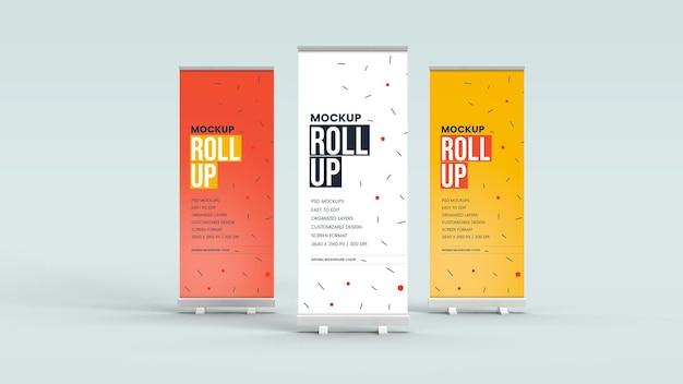 Modell des stehenden banners und des roll-up-banners