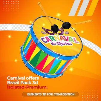 Modell des zabumba-instruments für karneval im 3d-rendering