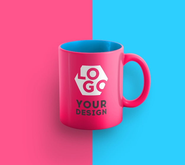 Modell einer zweifarbigen kaffeetasse