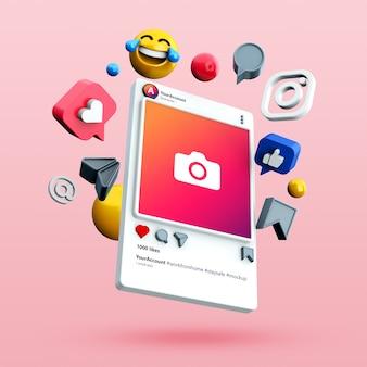Modell eines 3d-instagram-social-media-beitrags