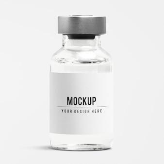 Modell eines injektionsglasflaschenetiketts mit aluminiumkappe