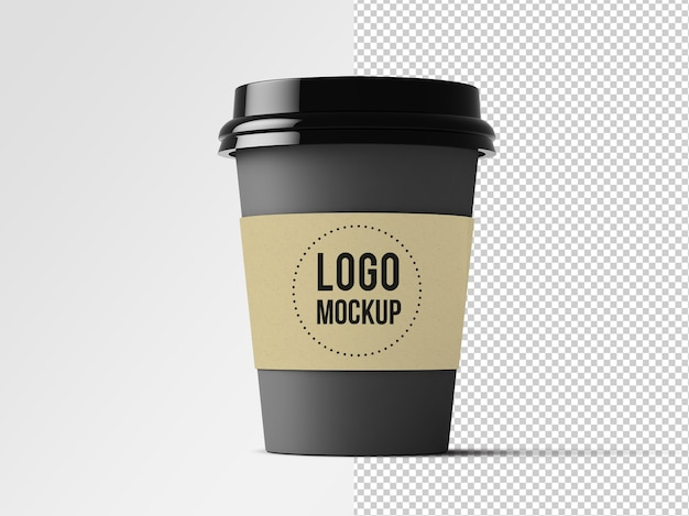 Modell eines kaffeetassenetiketts isoliert