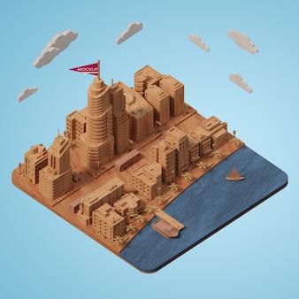 Modell eines mock-up-städtegebäudes