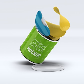Modell eines zylindrischen kartonbehälters kostenlos psd