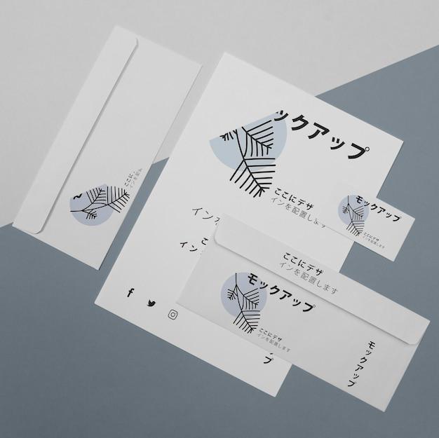 Modell für japanische geschäftsfirma auf dokumenten