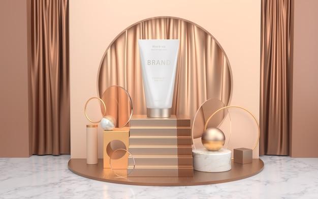 Modell für kosmetische produkte auf minimaler szene mit podium platziert