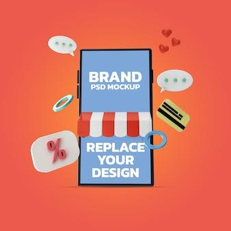 Modell für smartphone-bildschirm zum online-shopping