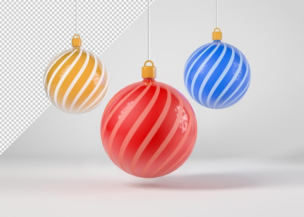 Modell mit drei weihnachtskugeln
