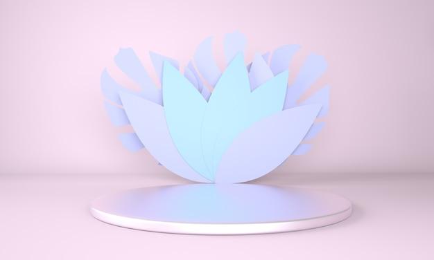 Modell, podium, anzeige mit monstera verlässt tropische pflanze in 3d-darstellung