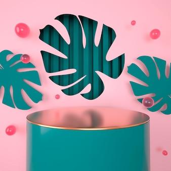 Modell, podium, anzeige mit monstera verlässt tropischen pflanzenhintergrund, 3d rendern
