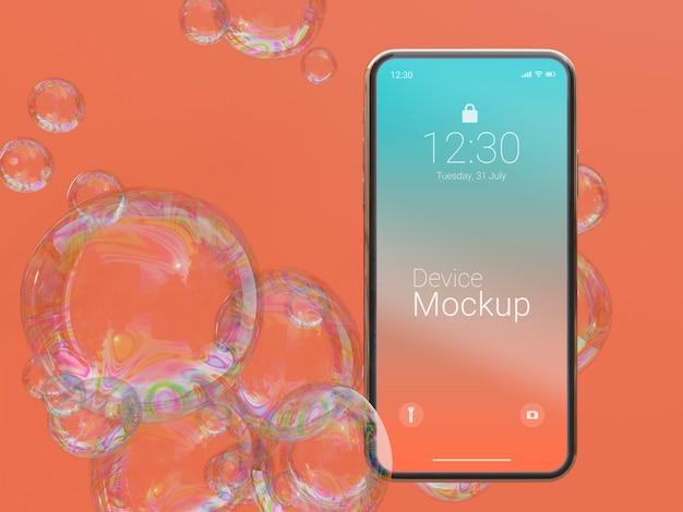 Modell-smartphone mit abstrakten flüssigkeiten