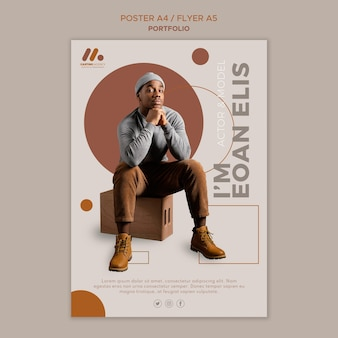 Modell- und schauspieler-portfolio-postervorlage