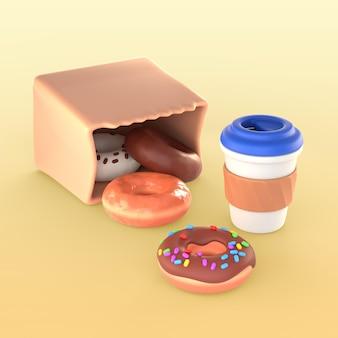 Modell von donuts in papiertüte und tasse kaffee