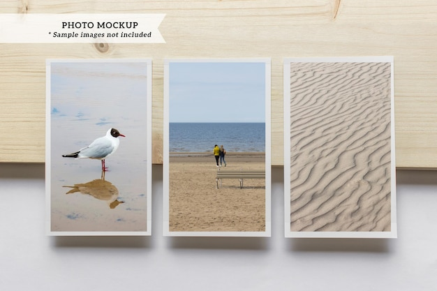 Modell von drei vertikalen leeren fotokarten