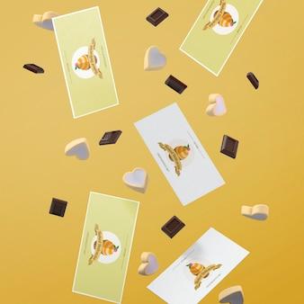 Modell von karten mit kuchenkonzept