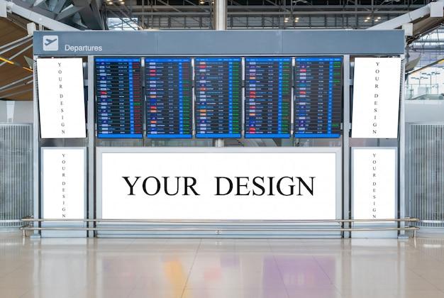 Modellbild der leeren anschlagtafel oder des schildes in der flughafenterminalstation für die werbung