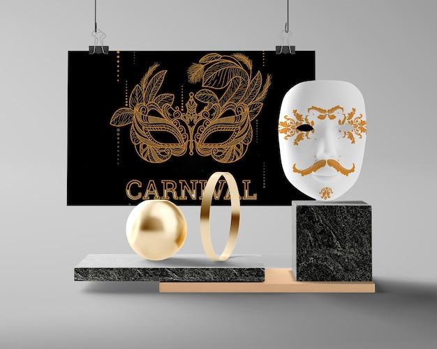 Modelldekorationen vorbereitet für karneval