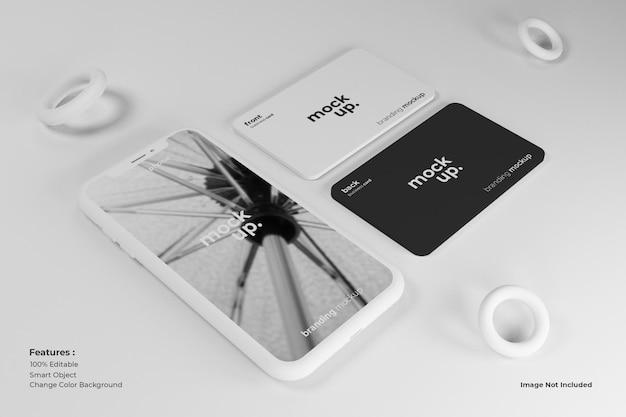 Modelldesign für mobilgeräte und visitenkarten