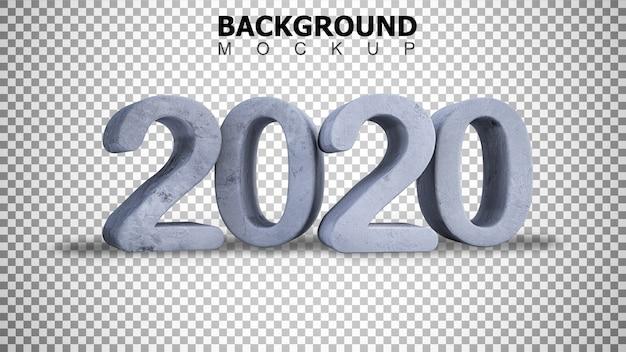 Modellhintergrund für 3d, das gebrochenen konkreten hintergrund des textes 2020 überträgt