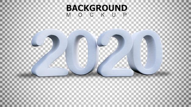 Modellhintergrund für 3d, das weißen plastikhintergrund des textes 2020 überträgt
