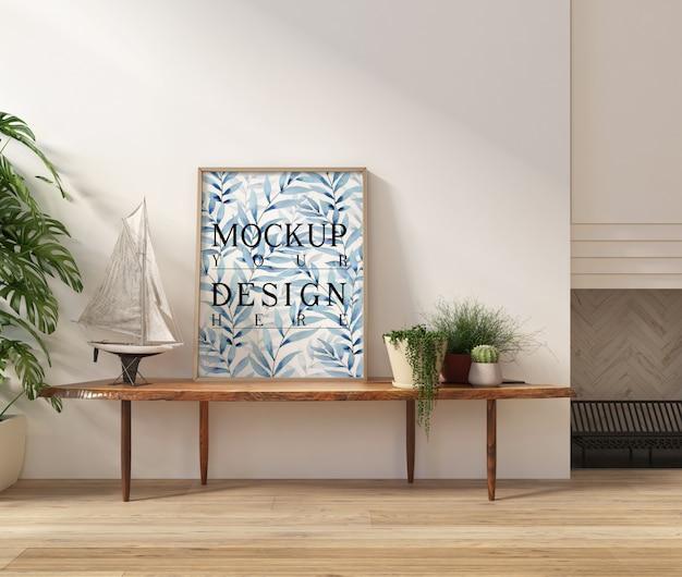 Modellplakat im modernen weißen wohnzimmer mit bank